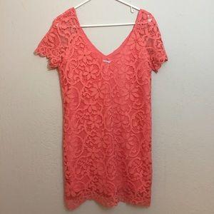 BB Dakota-Pretty Coral Loose Fitting Lace Dress